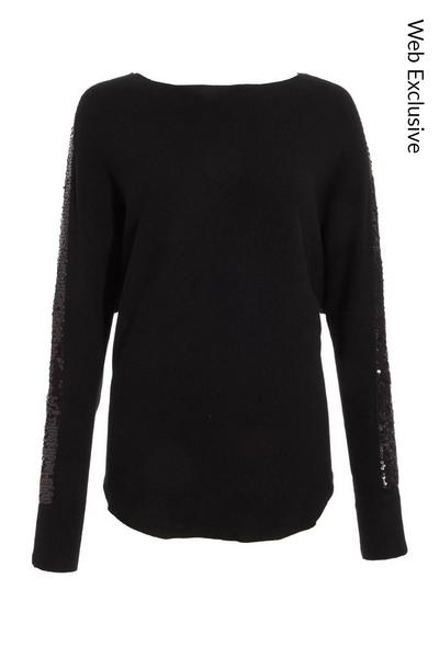 Black Sequin Stripe Knitted Jumper